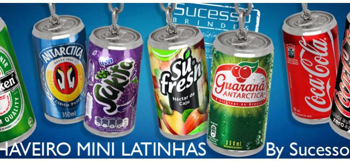 Chaveiro Miniatura de Lata de Coca-Cola Zero, Coca-Cola, Guaraná, Suco de Uva Su Fresh, Cerveja Antarctica, Cerveja Brahma e Cerveja Heineken.